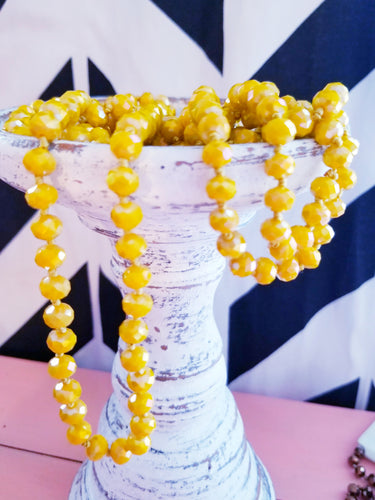 BRIGHT YELLOW Beaded Necklace
