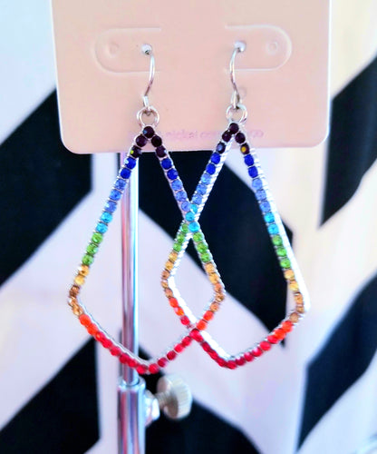 *CLEARANCE* Teardrop Shaped Rainbow Rhinestone Earrings
