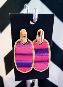 Pink & Purple Glitter Striped Earrings