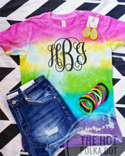 Load image into Gallery viewer, Tiedyed Distressed MONOGRAM Tshirt *Custom Shirt*