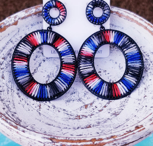 Patriotic July 4th Red White & Blue Thread Earrings