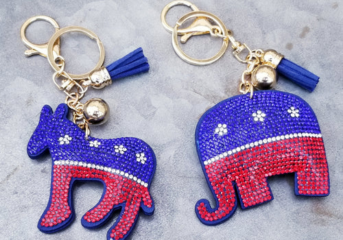 ELEPHANT or DONKEY Blingy Keychain