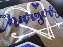 Load image into Gallery viewer, CHARGERS Heart,  All Glittered Spirit Day Shirt, Chargers Pride Shirt, Chargers Mascot Shirt, Adult & Kid Sizes