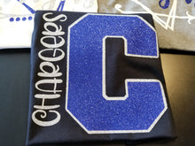 "Load image into Gallery viewer, CHARGERS Big Letter ""C"",  All Glittered Spirit Day Shirt, Chargers Pride Shirt, Chargers Mascot Shirt"