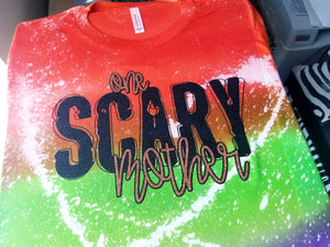 ONE SCARY MOTHER Distressed Halloween Tshirt