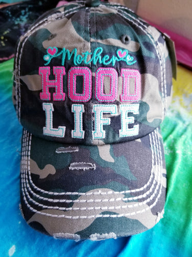 Camo Print MOTHERHOOD Distressed Baseball Hat
