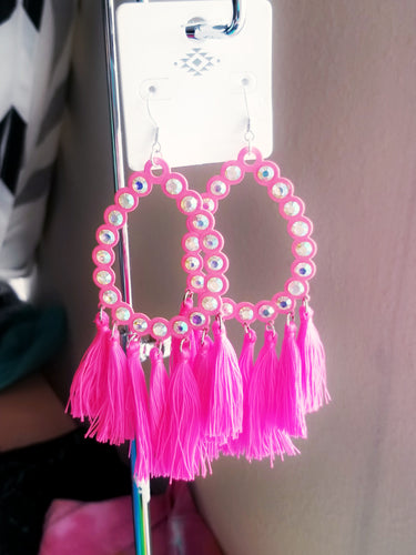 EXTRA COLLECTION Neon Pink Tassel Earrings