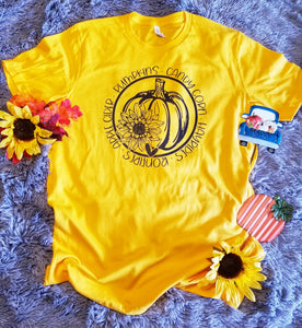 Pumpkin Sunflower Circle Fall Graphic Tee