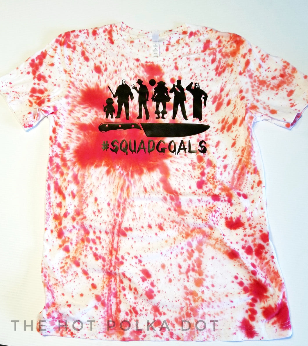 Horror Movie Bloody Squadgoals, Red Dyed Halloween Tshirt