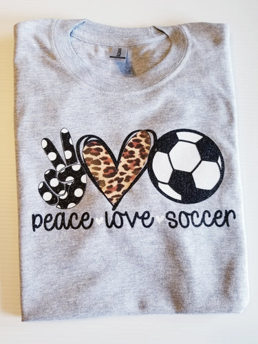 Peace LOVE Soccer Tshirt, Kids and Adult sizes