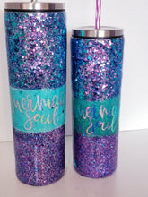 Load image into Gallery viewer, OU Football Team Glitter Tumbler - Or Your Team