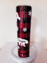 Load image into Gallery viewer, Buffalo Plaid Mama Bear Glitter Tumbler Personalized with Kids Names