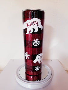 Buffalo Plaid Mama Bear Glitter Tumbler Personalized with Kids Names