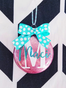 Girls Personalized Name Glass Christmas Ornament,  YOU CHOOSE Colors,  Christmas Decor