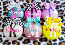 Load image into Gallery viewer, Girls Personalized Name Glass Christmas Ornament,  YOU CHOOSE Colors,  Christmas Decor