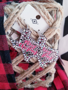 "Texas Shaped Leopard Print Christmas Earrings ""Merry Christmas"""