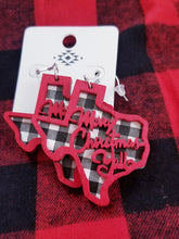 Load image into Gallery viewer, Texas Shaped Black & WHITE Plaid MERRY CHRISTMAS Y'ALL, Christmas Earrings