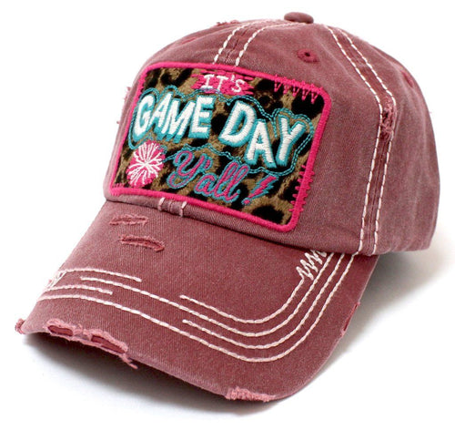 Its GAME  DAY Yall Leopard Print Embroidered Patch Vintage Maroon Hat - The Hot Polka Dot