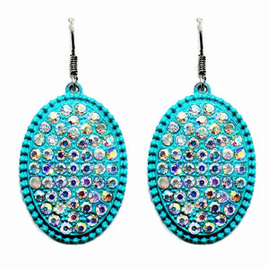 TURQUOISE / Rhinestone Metal Oval Earrings - The Hot Polka Dot