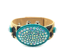 Load image into Gallery viewer, TURQUOISE Oval Rhinestone Leopard Bracelet - The Hot Polka Dot