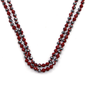 Red & Gray Beaded Necklace