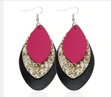 Load image into Gallery viewer, Layered Faux Leather Earrings