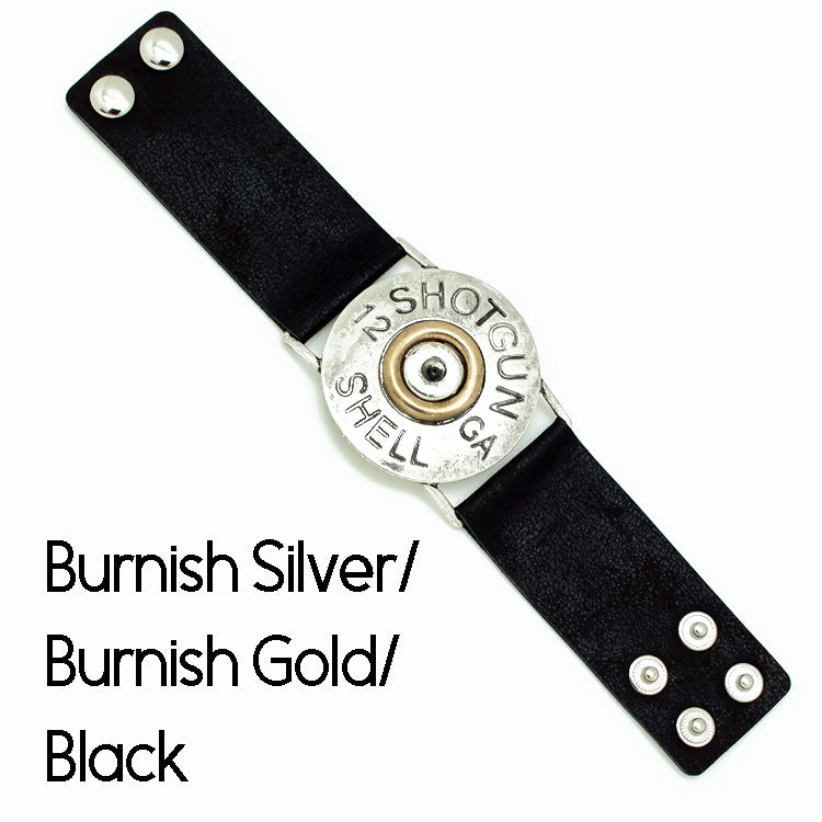 Hammered Shotgun Shell Black Leather Bracelet - The Hot Polka Dot