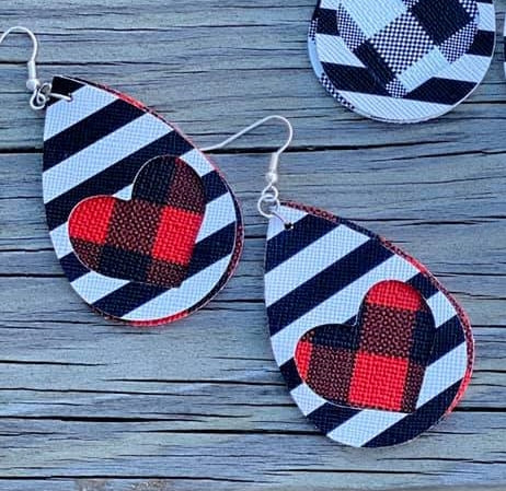 Black & White Striped / Buffalo Plaid HEART Heart Cut Out Layered Tear Drop Earrings, Valentine's Day - The Hot Polka Dot