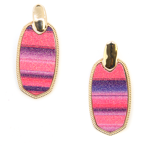 Pink & Purple Glitter Striped Earrings - The Hot Polka Dot