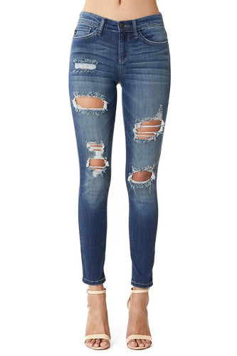 JUDY BLUE Destoyed Dark Wash Skinny Jeans - The Hot Polka Dot