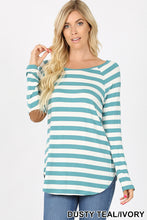 Load image into Gallery viewer, *CLEARANCE* Long Sleeve Top with Elbow Patch Detail / Dusty Teal - The Hot Polka Dot