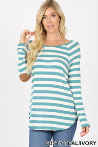 *CLEARANCE* Long Sleeve Top with Elbow Patch Detail / Dusty Teal - The Hot Polka Dot