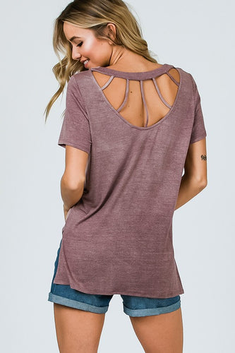 Vintage MAUVE Short Sleeve Cage Back Top - The Hot Polka Dot
