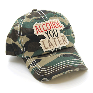 Camo Print ALCOHOL YOU LATER Distressed Baseball Hat - The Hot Polka Dot
