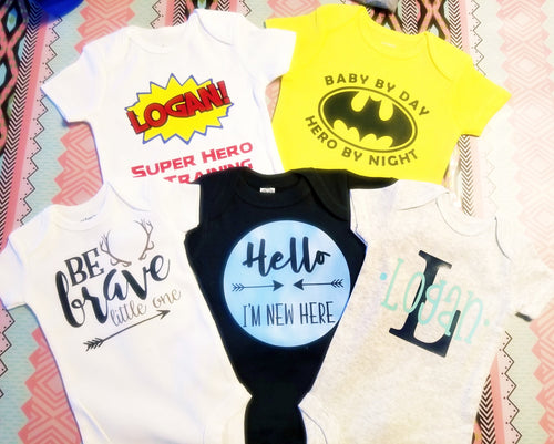 Baby Boy Onesie Baby Shower GIFT Set, Set of FIVE Custom Baby Boy Onesies - The Hot Polka Dot