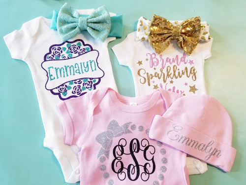 Baby Girl Onesie Baby Shower GIFT Set, Includes FIVE Custom Onesies, Baby Shower Gift Set - The Hot Polka Dot