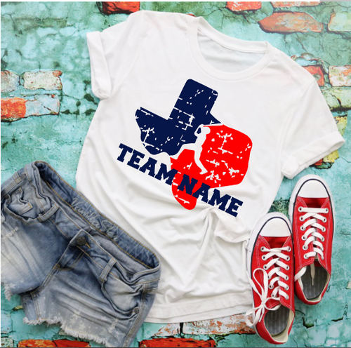 Grunge TEXAS Baseball Shirt with Optional Team or Player Name, Choose Shirt Color - The Hot Polka Dot