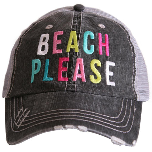 BEACH PLEASE Embroidered Hat, Girls Summer Spring Break Vacation Hat - The Hot Polka Dot