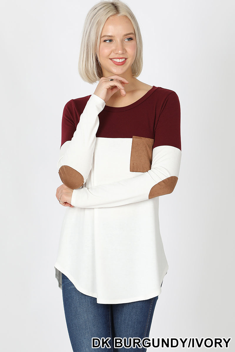 *CLEARANCE* Long Sleeve Color Block Top with Suede Pocket and Elbow Patches / BURGUNDY - The Hot Polka Dot