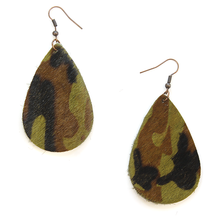 Load image into Gallery viewer, Camo Print Teardrop Earings - The Hot Polka Dot
