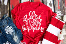 Load image into Gallery viewer, Go Jesus It's your Birthday Red Christmas Shirt, Cute Christmas Shirts - The Hot Polka Dot