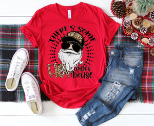 There's Some HOs in the House, Leopard Print, Adult Santa Claus Shirt, Solid Color Tee