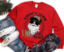 Load image into Gallery viewer, There's Some HOs in the House, Leopard Print, Adult Santa Claus Shirt, Solid Color Tee