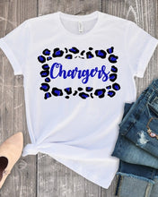 Load image into Gallery viewer, Clear Springs CHARGERS Leopard Frame, All Glittered Spirit Game Day Shirt, Chargers Pride Shirt