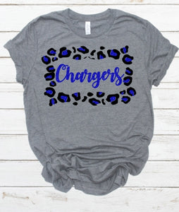 Clear Springs CHARGERS Leopard Frame, All Glittered Spirit Game Day Shirt, Chargers Pride Shirt