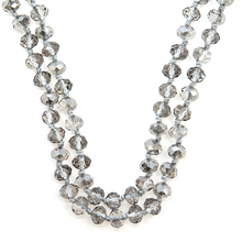 "Load image into Gallery viewer, 60"" Gray Clear Beaded Necklace - The Hot Polka Dot"