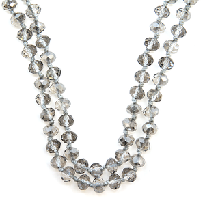 "60"" Gray Clear Beaded Necklace - The Hot Polka Dot"