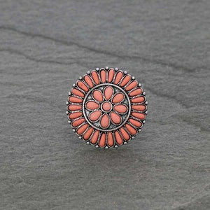 Coral Stone Circle Western Style Cuff Ring - The Hot Polka Dot