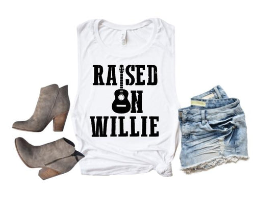Raised on Willie Shirt or Tank,  Choose Style & Colors - The Hot Polka Dot