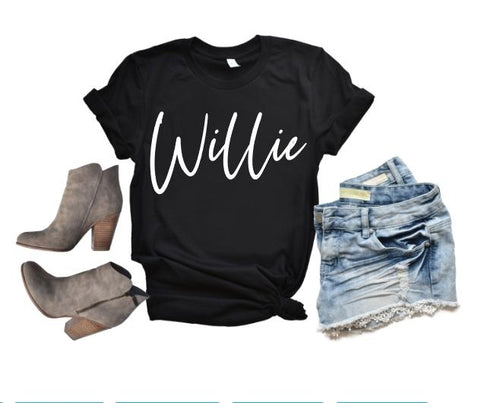 WILLIE Shirt or Tank, Willie Nelson, Choose Style & Colors - The Hot Polka Dot
